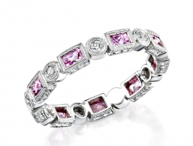 Eternity Band with Pink Sapphires & Diamonds