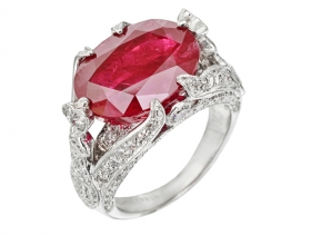Handcrafted Ruby & Diamond Engagement Ring