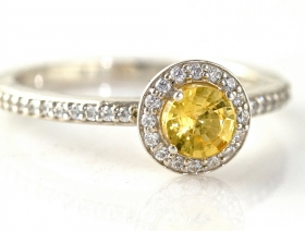 Halo Cut Yellow Sapphire Engagement Ring With Diamonds