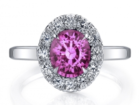 Pink Sapphire & Diamond Sterling Silver Ring